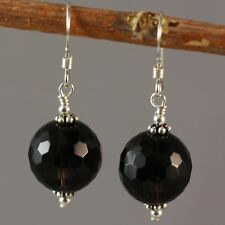Sterling Silver Natural Smoky Quartz 12mm Faceted Round Earrings