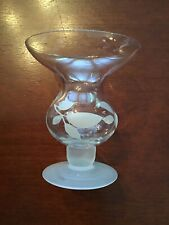 Crystal Hour Glass Vase Or Candle Holder With Frosted Stem