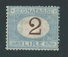 """1870 Regno d'Italia """"SEGNATASSE 2L AZZURRO"""" NUOVO LUSSO* Cert. SOTTORIVA"""