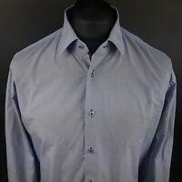 JOOP! Mens Shirt 42 16.5 (LARGE) Long Sleeve Blue SLIM FIT No Pattern Cotton