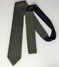 Knitted tie by M&S Navy blue and yellow vintage 1990s zig zag pattern