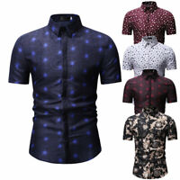 Men Luxury Slim Fit Dress Shirt Short Sleeve Stylish Formal Casual T-shirt Top