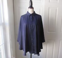 Size: M FYLO Navy Cape Blouse Button-up Collar 3/4 Sleeve 100% Polyester Womens