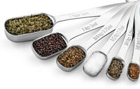 Heavy Duty Stainless Steel Metal Measuring Spoons for Dry or Liquid set of 6