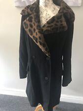 Wallis Black Wool & Cashmere Ladies Coat Leopard Print Fur Collar Size 14