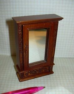 DOLLHOUSE 1:12 Scale Wood w//Metal Filagree Accent Miniature Glass Wall Mirror