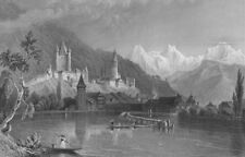 SWITZERLAND. Thun, with the Bernese Alps. BARTLETT 1836 old antique print