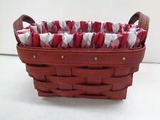 Longaberger Bold Red Tea Basket Combo +Pro + Picnic Plaid Liner New Retired