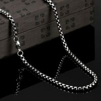 """24"""" 4mm Boys MENS Chain Silver Tone Curb Link Stainless Steel Necklace Charm Hot"""