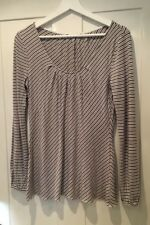 Ladies COAST Grey White Striped Long Sleeve Top Size 10 12 Casual Basics Viscose