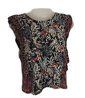 Lucky Brand Womens Size XS Mixed Media Sleeveless Boho Top Floral Print Ruffle