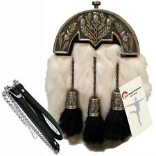 Scottish Kilt Original White Rabbit Fur Full Dress Sporran Antique Enamel Cantel