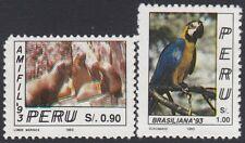 Perú 997/98 1993 120 AMIFIL Lobos Marinos Guacamayos birds  MNH
