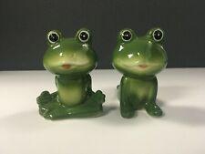 Anthropomorphic Ceramic Frogs Yoga Zen Pose Green Salt and Pepper Shakers