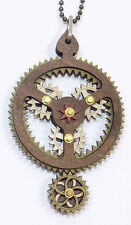 Green Tree Jewelry Kinetic Planetary Gear Wood Pendant Necklace with Chain 6003A