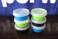 Tupperware 1oz Smidgets Pill Dressing Container Set of 6 Black Green Blue New
