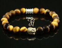 Tigerauge braun glänzend Armband Bracelet Perlenarmband Buddhakopf gold 8mm