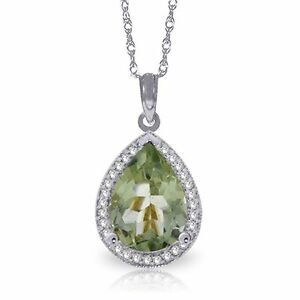 Natural Green Amethyst Pear Gemstone & Diamonds Pendant Necklace 14K. Solid Gold