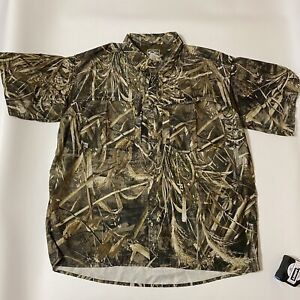 Drake Waterfowl Camo Realtree Max 5 Fishing Shirt Breathable Vented Button Down