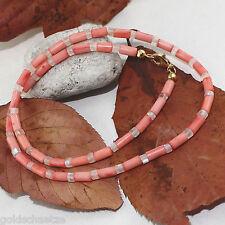 Korallen Kette mit Regenbogen Mondstein – 925 Silber vergoldet – rosa blau 65 ct
