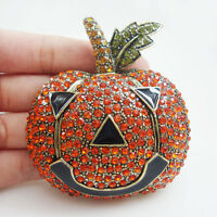 Vintage Style Red Halloween Pumpkin Art Nouveau Gold Brooch Pin Austrian Crystal