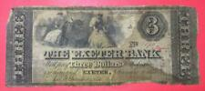 """1855 $3 Us """"Large Size"""" """"Exeter, New Hampshire"""" Odd Denomination! Us Currency!"""