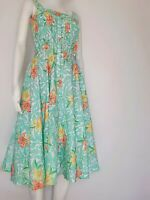 Fit And Flare Dress SMALL Floral Aqua tropical Button Front Swing Skirt Dress