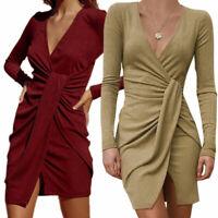 Women Long Sleeve Asymmetrical Midi Wrap Dress Casual Bridesmaid Party Gown Ball
