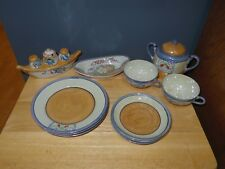 Vintage 17 Piece Japan Blue Lusterware Dishes Cups Saucers Plates Sugar Bowl