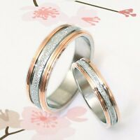 UK BOXED SET 18K Gold Groom / Bride Promise Wedding Bands Titanium Rings Set