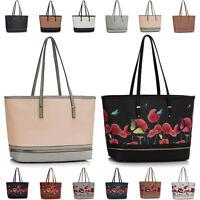 New Floral Faux Leather Ladies Designer Womens Large Shoulder Bag Handbag Tote