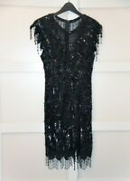 VTG 90s Scala Black Dress Gown Sequin Embellished Prom Beaded SILK Sz L Large