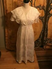Handmade in the 1850's Victorian Style Wedding/Christening Dress Size XS White