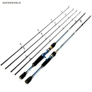 Spinning Casting Fishing Rod Pole Carbon Fiber Tip Lure Metal Blue Ultra Light