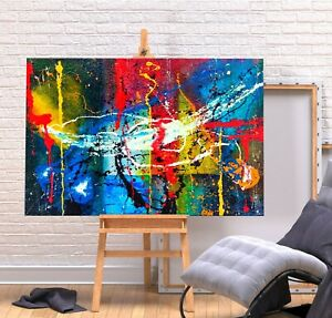 JACKSON POLLOCK 11- RED BLUE COLOURFUL FRAMED CANVAS WALL ART PICTURE PRINT
