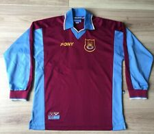 West Ham Original 1997-1998 Shirt Pony. No Sponsor. Sinclair 8 Long Sleeves. (S)
