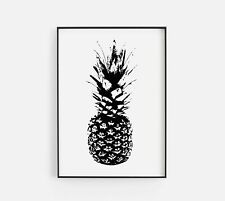 Sketched Pineapple Food Illustration Kitchen Home Wall Art Poster Print Decor