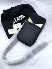 New Fendi Messenger Black Bag Bugs One Shoulder Backpack Mens Gold Eyes $1490