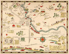 Early+Midcentury+Pictorial+Map+South+Bend+Indiana+11x14+Wall+Poster++Home+School