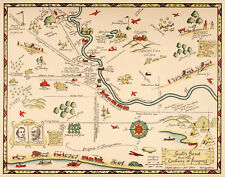 Early Midcentury Pictorial Map South Bend Indiana Wall Poster Home School Office