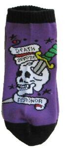 Tattoo Ankle Socks Death Before Dishonor Skull Women's No Show Short Purple Bin3