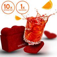 Filz Untersetzer für Gläser Deko Set Herz + Aufbewahrungsbox Tischset 10 Stück