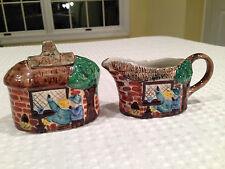 Vintage TONY WOOD Staffordshire Ceramic COTTAGE SUGAR BOWL & CREAMER SET EUC