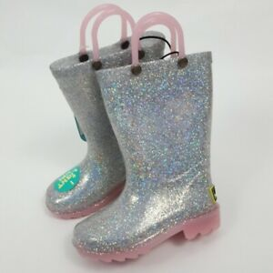 Western Chief Toddler Girls 7, 8, 10,12 Alia Glitter Light-Up Rain Boots Silver