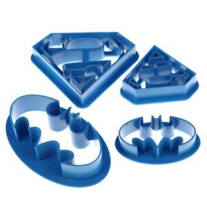 4 piece set DIY baking Batman and Superman plastic cookie mold fondant cutting H