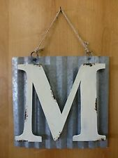 "10"" CORRUGATED INDUSTRIAL METAL SIGN LETTER ""M"" WHITE vintage rustic wall decor"