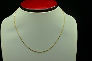 """GLISTENING 14K YELLOW GOLD SMALL BOX CHAIN NECKLACE 16"""" GOLD-1367"""