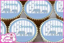 24 x BLUE CHRISTENING EDIBLE CUPCAKE TOPPERS CAKE WAFER RICE PAPER 8585