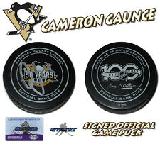 CAMERON GAUNCE Signed PITTSBURGH PENGUINS 2017 CUP GAME PUCK - w/COA #2