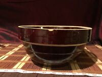 Vintage Yellow Ware Mixing Bowl Brown Glazed USA Stoneware 9""